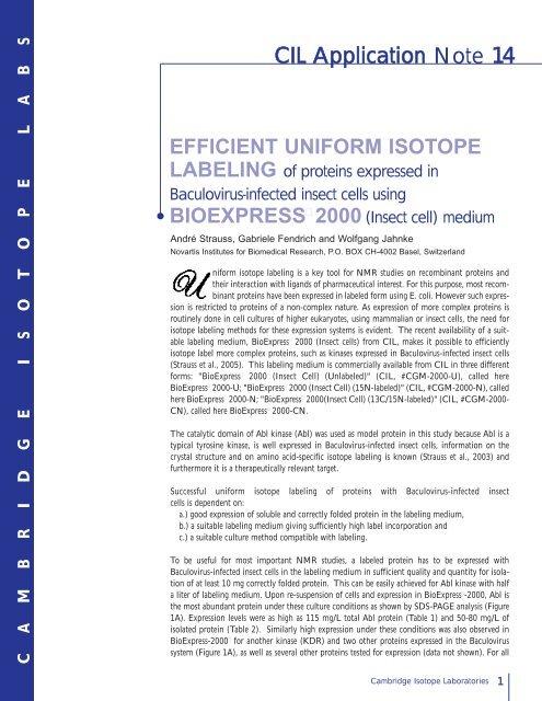 bioexpress 2000 - Cambridge Isotope Laboratories