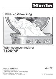 Gebrauchsanweisung Wärmepumpentrockner T 8969 WP - Miele