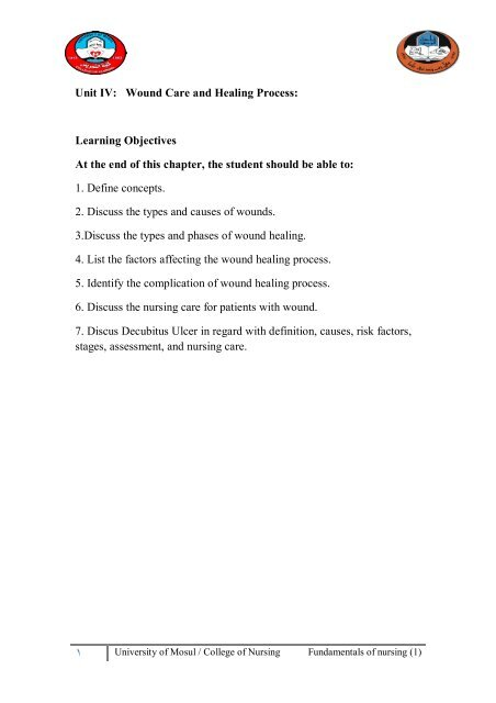 Unit IV: Wound Care and Healing Process: Learning Objectives