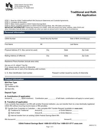 Traditional and Roth IRA CD Application - USAA