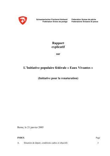 Rapport explicatif L'Initiative populaire fédérale « Eaux Vivantes »