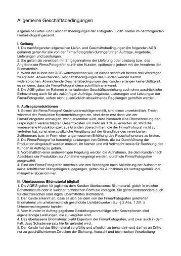 Allgemeine Geschäftsbedingungen der Fotografin ... - Berlinfoto.biz