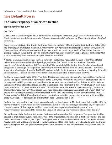 America, The Default Power