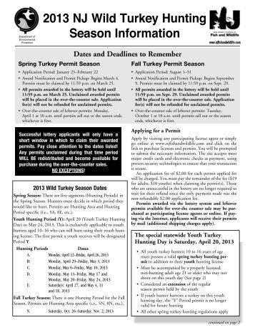 2013 NJ Wild Turkey Hunting Season Information - Division of Fish ...