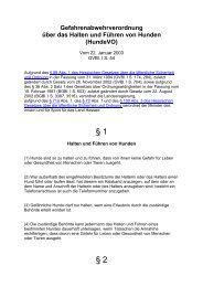 Gefahrenabwehrverordnung über das Halten und Führen von Hunden