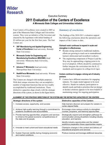 2011 Evaluation of the Centers of Excellence, Executive summary