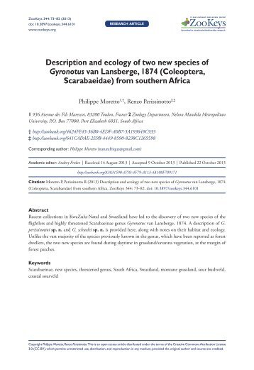Description and ecology of two new species of Gyronotus van ...