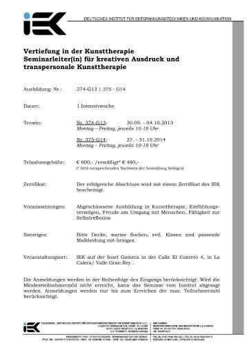 Vertiefung in der Kunsttherapie Seminarleiter(in) für kreativen ...