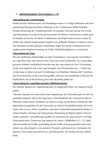 1 1. Ophthalmologische Untersuchung S. 1 - ÖH Med Wien Social