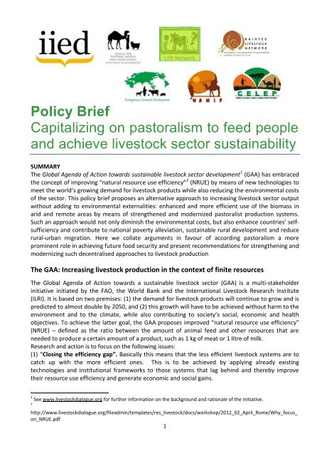 Policy Brief Capitalizing on pastoralism to feed people and achieve ...