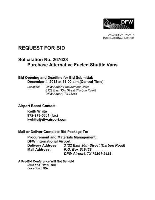 Request For Bid Dallas Fort Worth International Airport