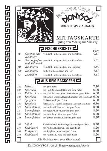 Werfen Sie einen Blick in unsere Mittagskarte mit griechischen ...