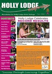 Newsletter Dec 2011 - Holly Lodge Girls' College