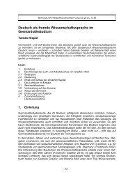 Deutsch als fremde Wissenschaftssprache im Germanistikstudium