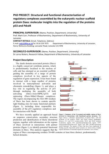 Structural and functional characterisation of regulatory complexes ...