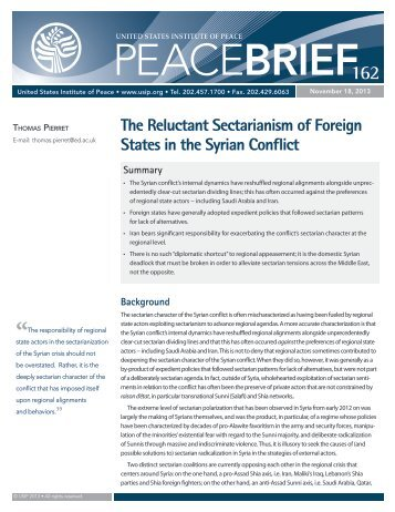 The Reluctant Sectarianism of Foreign States in the Syrian Conflict