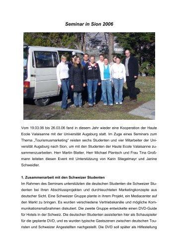 Seminar in Sion 2005 - WiWi - Universität Augsburg