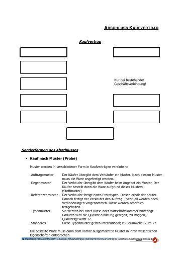kaufvertrag sonderformen des abschlusses kauf nach muster user - Pkw Kaufvertrag Muster