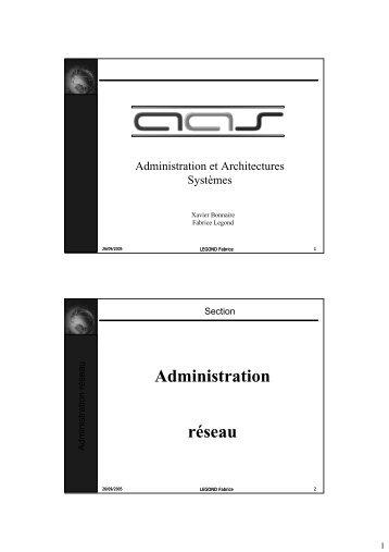Administration réseau - Master informatique