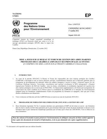 Rapport d'activités CaMPAM - CAR-SPAW-RAC