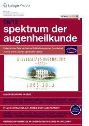 spektrum der augenheilkunde - 150 Jahre Augenklinik Graz
