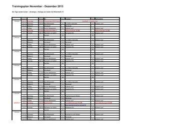 Trainingsplan November - Dezember 2013 - Zur Homepage des ...
