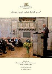Jeanne Hersch und die Politik heute - Baden-Württemberg