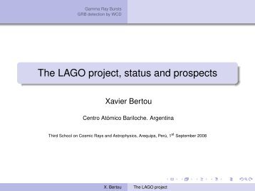 The LAGO project, status and prospects - Physics
