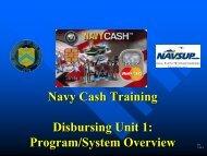 Navy Cash Training Disbursing Unit 1: Program/System Overview