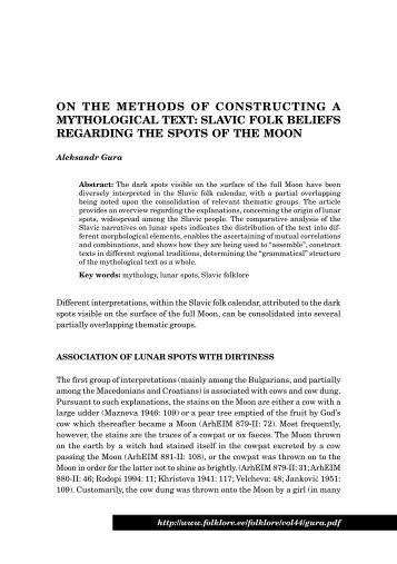 ON THE METHODS OF CONSTRUCTING A MYTHOLOGICAL TEXT ...