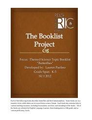 "Focus: Themed Science Topic Booklist ""Butterflies ... - RITELL"