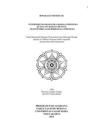 program pascasarjana fakultas ilmu budaya universitas gajah mada ...