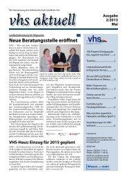 Ausgabe 2/2013 - Volkshochschule im Landkreis Hof
