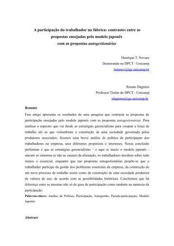 Uma revisão bibliográfica dos estudos sobre educação e ... - FBES