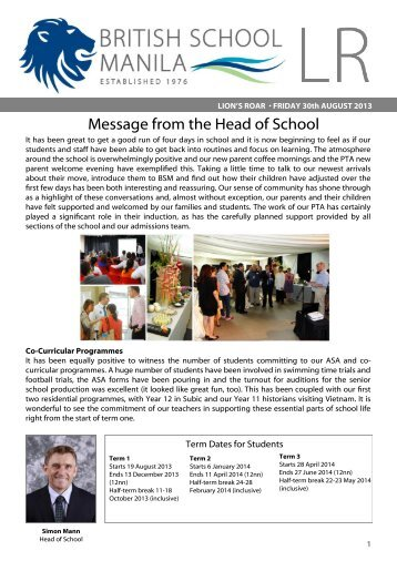 Message from the Head of School - The British School Manila