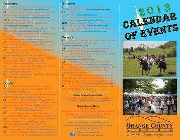 2013 Calendar of Events - Visit Orange County, Virginia
