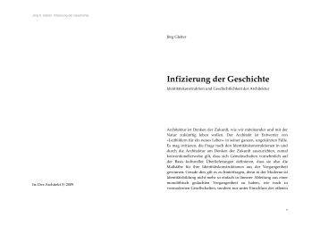 Infizierung der Geschichte - Architekturtheorie