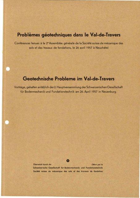 Geotechnische Probleme im Val-de-Travers - SGBF