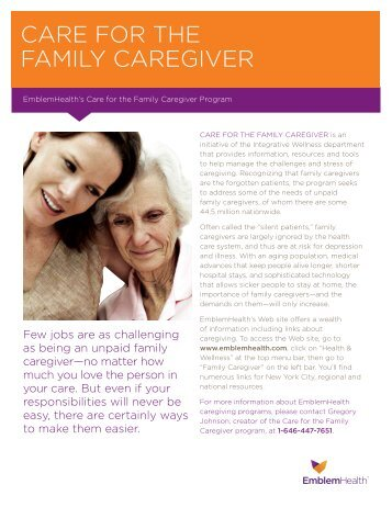 caregiver tips - EmblemHealth