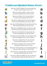 Letterland Traditional Alphabet Names Verses