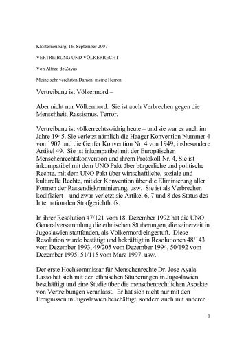 Vertreibung und Völkerrecht - Sudetendeutsche Landsmannschaft ...