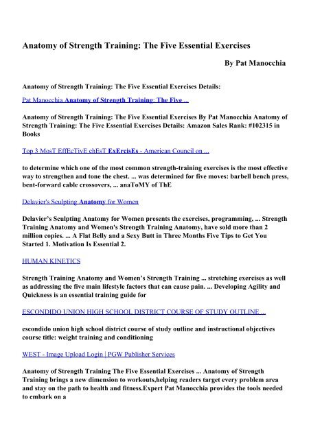 Anatomy of Strength Training: The Five Essential Exercises pdf