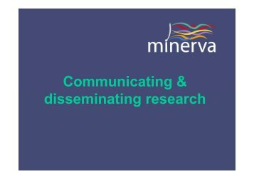 Communicating & disseminating research
