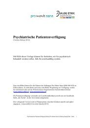 Psychiatrische Patientenverfügung - Dialog Ethik