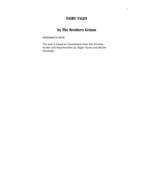 pdf - FAIRY TALES by The Brothers Grimm - sparks@eserver.org