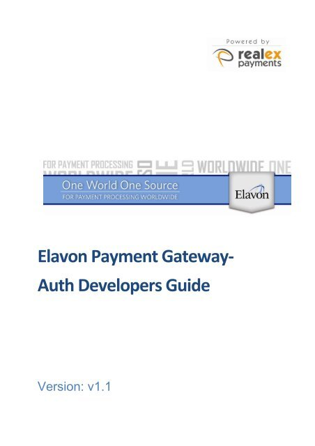 Elavon Payment Gateway Developers Guide