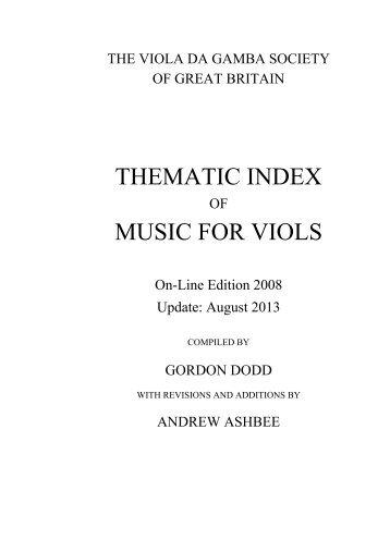 THEMATIC INDEX MUSIC FOR VIOLS - Viola da Gamba Society