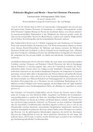 Politische Klugheit und Recht – Staat bei Christian Thomasius - IZEA