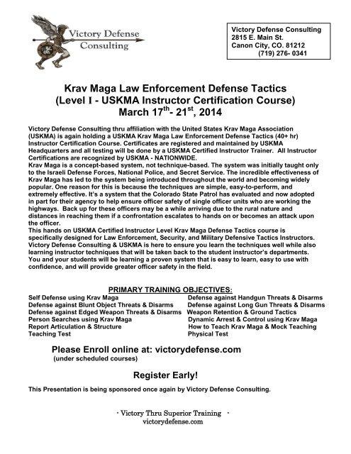 Krav Maga Law Enforcement Defense Tactics - Victory Defense ...