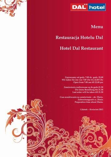 Menu Restauracja Hotelu Dal Hotel Dal Restaurant
